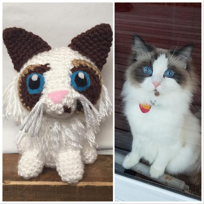 Вязаная кошка по фотографии