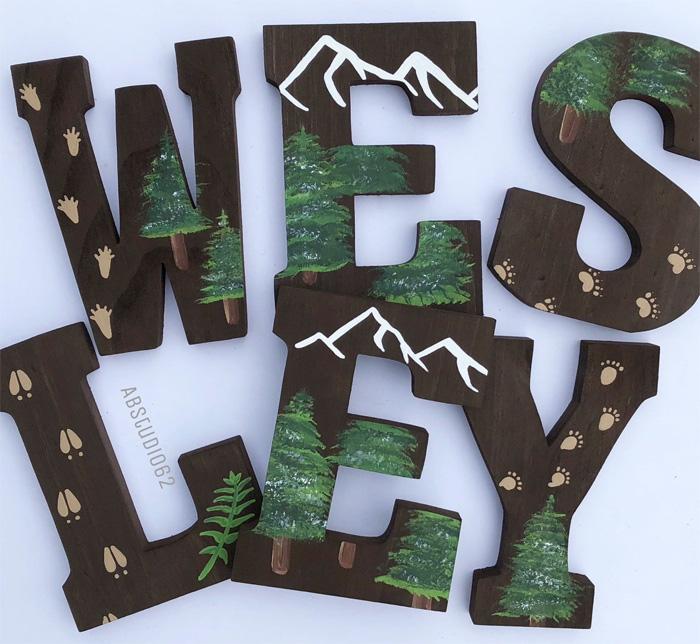 Буквы с картинками в виде гор