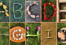 Буквы и цифры из природного материала