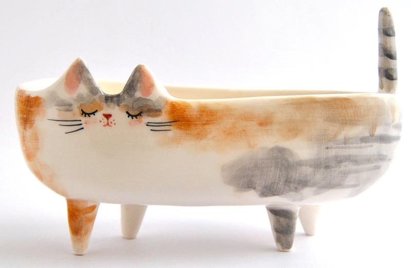 Персонализированный горшок в виде кошки