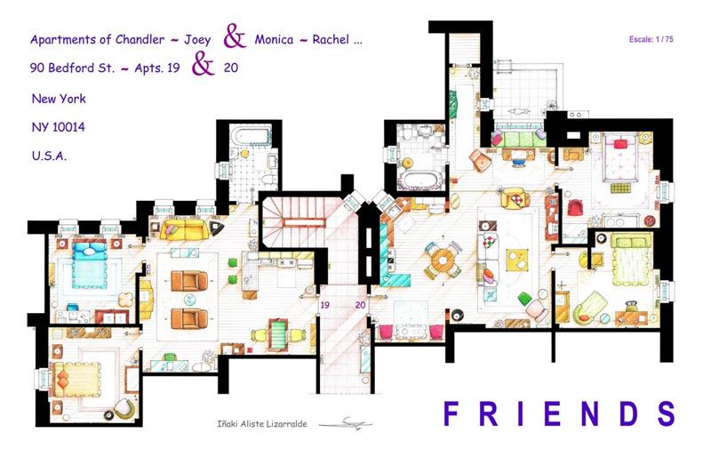 Схема квартир из сериала Друзья