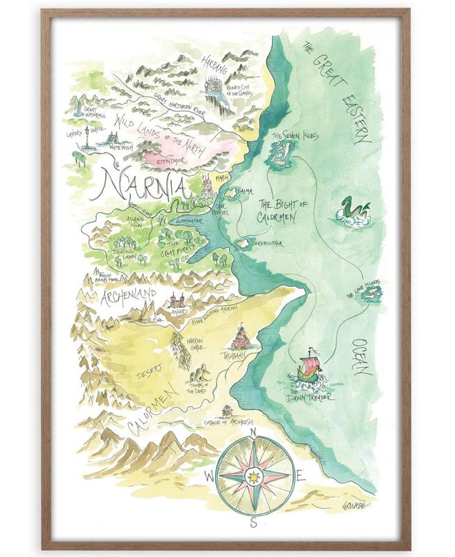 Акварельная карта Хроник Нарнии