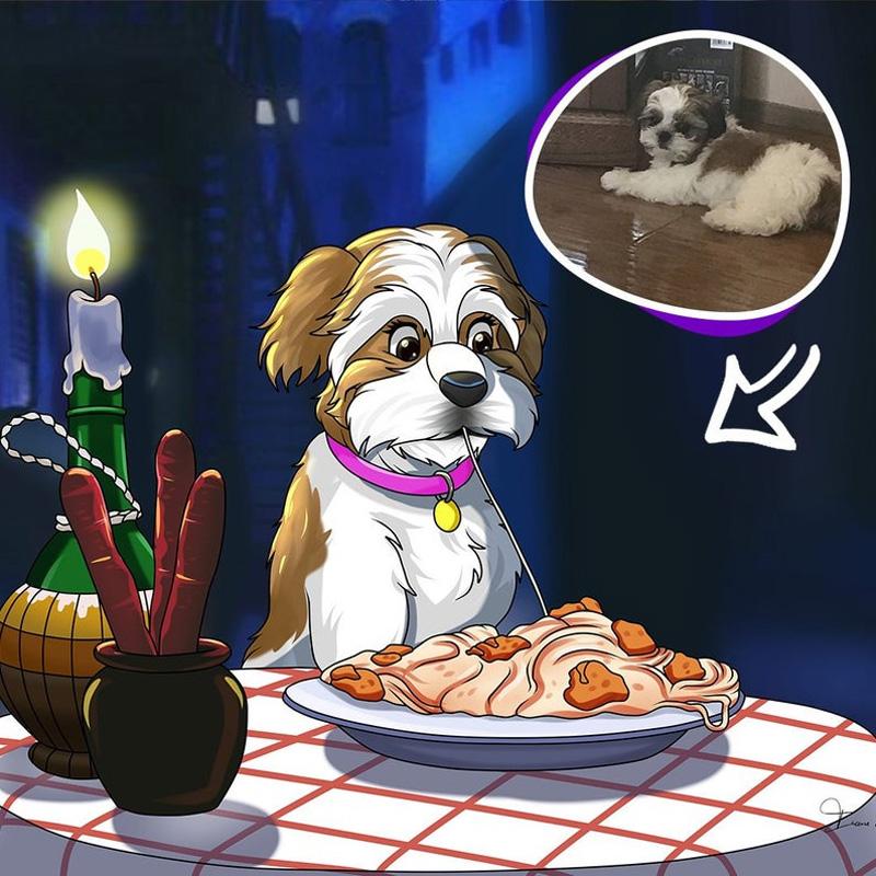 Мультяшный портрет собаки