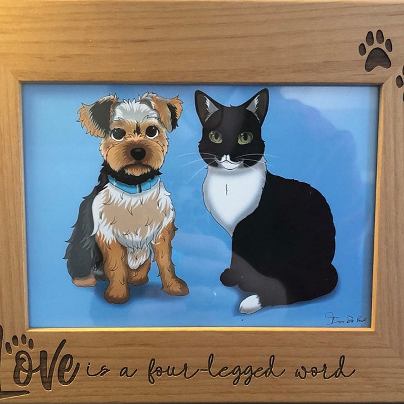 Портрет домашних животных в рамке