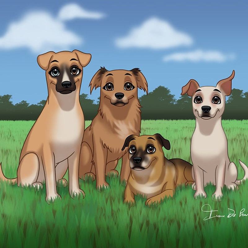Четыре собаки на индивидуальном фоне