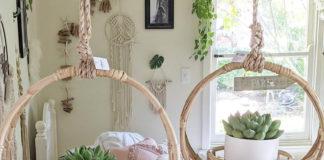 Подвески для цветов из макраме и ротанга