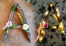 Деревянные буквы из веток